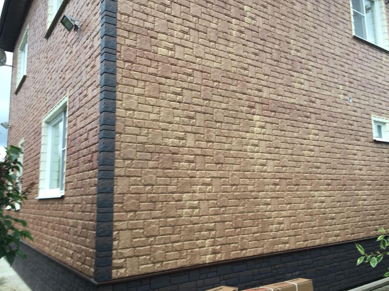 Монтаж GL «Я-Фасад» Екатерининский камень, Бронза - цоколь и углы Docke-R Burg, Темный
