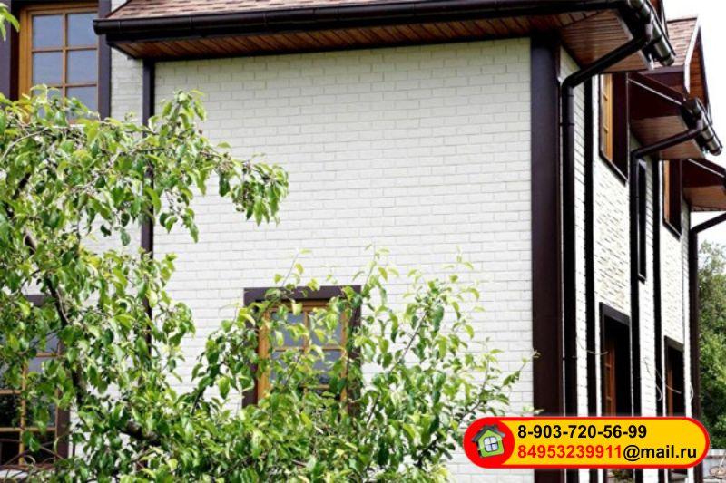Монтаж фасадных панелей Grand Line, «Состаренный кирпич» — Молочный и Коричневый