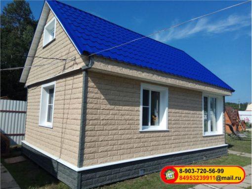 Монтаж фасадных панелей Стоун-хаус Ю-пласт — Золотистый и Изумрудный