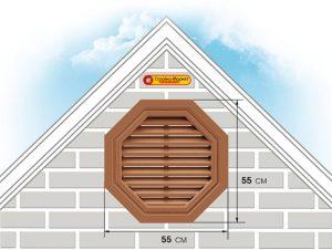 Восьмиугольная фронтонная вентиляционная решётка