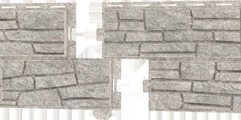 Фасадные панели Ю-пласт (Стоун Хаус Сланец) — Светло-серый