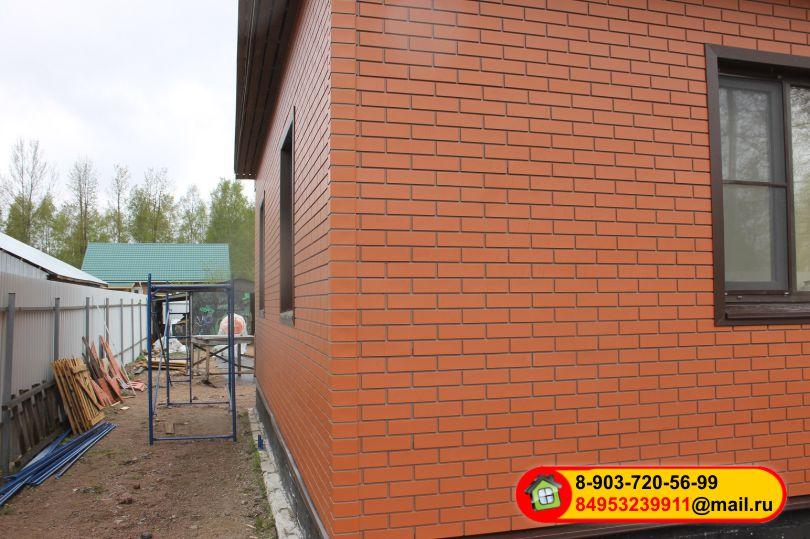 Монтаж фасадных полипропиленовых панелей «STEINDORF», кирпич красный
