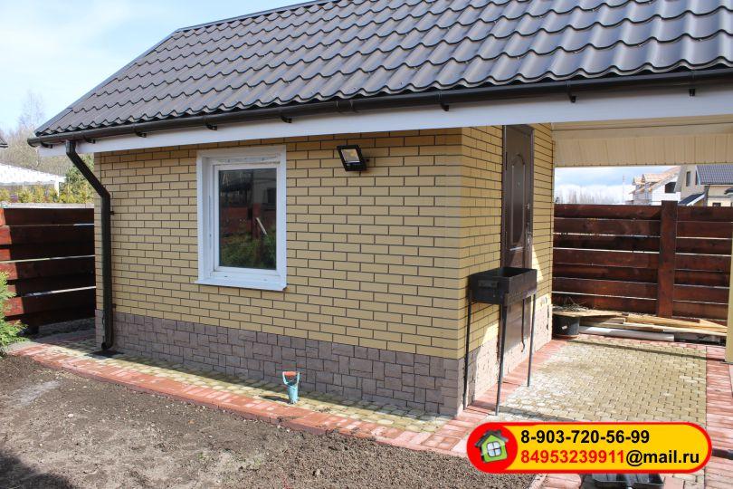 Монтаж фасадных полипропиленовых панелей «STEINDORF», кирпич желтый