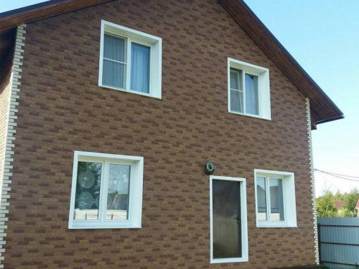 Монтаж фасадных панелей Альта-Профиль Кирпич — Бежевый Комби