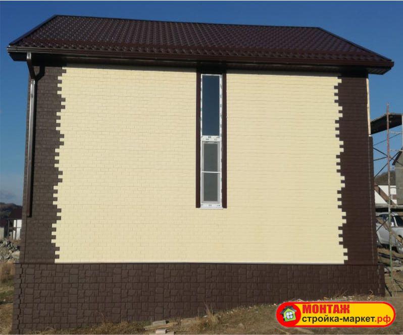 Монтаж Фасадные панели Grand Line Клинкерный кирпич - Молочный и коричневый