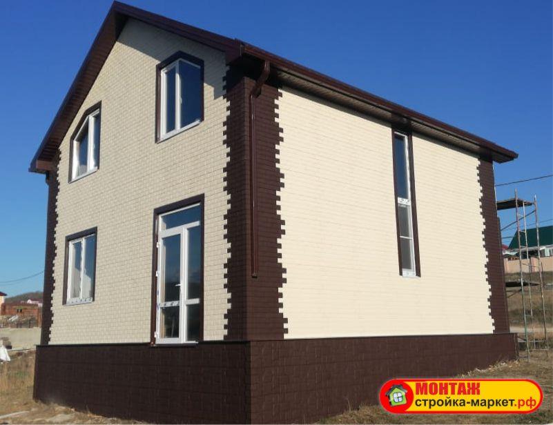 Монтаж Фасадные панели Grand Line Клинкерный кирпич — Молочный и коричневый