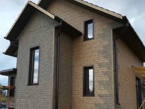 Монтаж фасадные панели Ю-пласт (Стоун Хаус Сланец) — Бурый и Бежевый